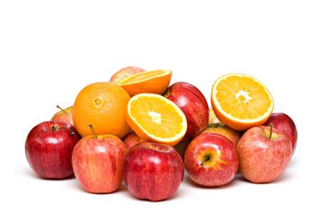 Oranges, apples, fruit on white background. Archivio Fotografico