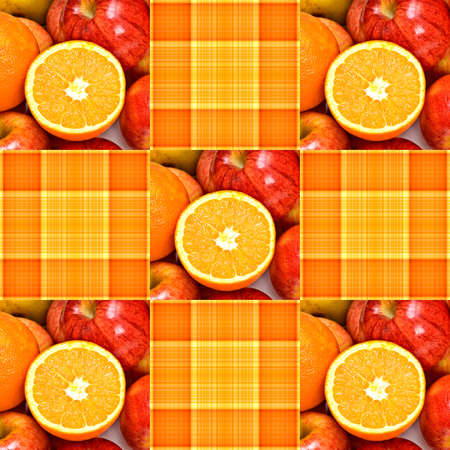 Orange and yellow plaid, with oranges and apples -seamless pattern coordinates in my portfolio. 스톡 콘텐츠