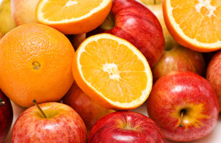 Fruit Background of apples and oranges. Stock Photo - 4274183