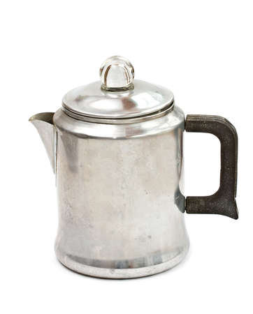 percolator: Vintage percolator coffee pot on white background.