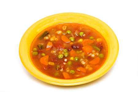 A vegetable soup with pearl barley. Stock Photo