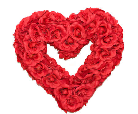 A red rose heart shaped wreath on white background photo