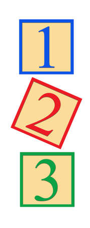 Three number blocks - 1, 2, and 3, on white background. Stock Photo