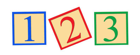 early childhood: Three number blocks - 1, 2, and 3, on white background. Stock Photo