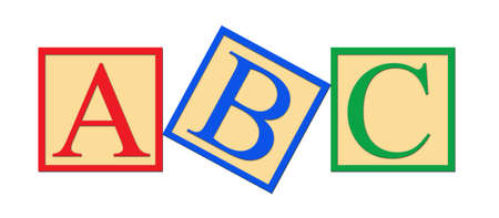 Three alphabet blocks.  A, B, and C graphic on a wihte background. photo