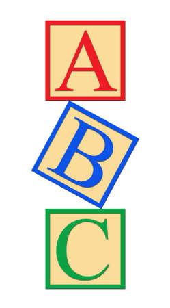 Vertical alphabet blocks on white background - illustration.