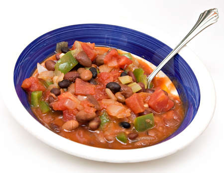 A bowl of vegetarian chili. Stock Photo