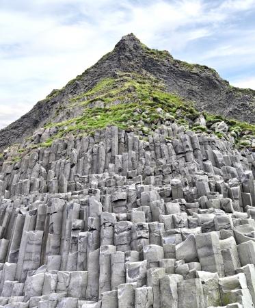 Reynisfjara Beach Basalt Coloumn Formations, Iceland  Stock Photo