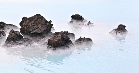 Thermal Mineral Pool, Iceland Stock Photo