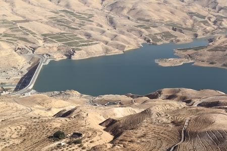 scarcity: Wadi al Mujib Dam and Lake in Jordan