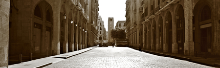 Downtowon Beirut Panorama in Sepia