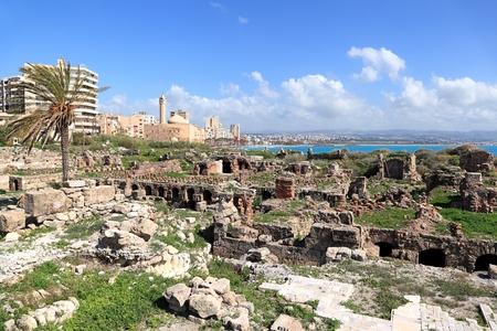 lebanon beach: Tyre Roman Ruins and Coastline, Lebanon Stock Photo