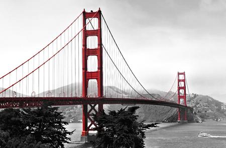 black white red: Golden Gate Bridge
