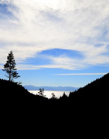 tahoe: Lake Tahoe Silhouette Stock Photo