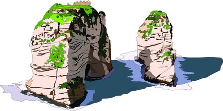coastal: Illustration of Pigeon Rocks off the coast of Beirut Stock Photo