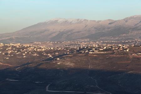 South Lebanon Landscape with Mt Hermon Stock Photo