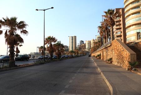 lebanon beach: Rafic Hariri Avenue at Sunset, Beirut