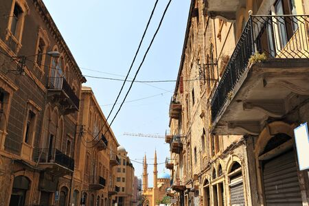 amine: Beirut -old architecture looking towards downtown Stock Photo