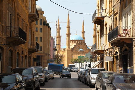 Beirut -old architecture looking towards downtown Stock Photo