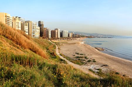 lebanon beach: Beirut, nature in the city at Ramlet el Baida Beach Stock Photo