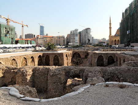 beirut: Martyrs Square, Beirut: ancient archeology and modern skyline in central Beirut