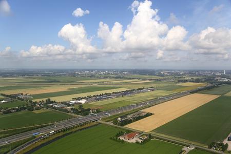 dutch: Aerial View Dutch Countryside Stock Photo