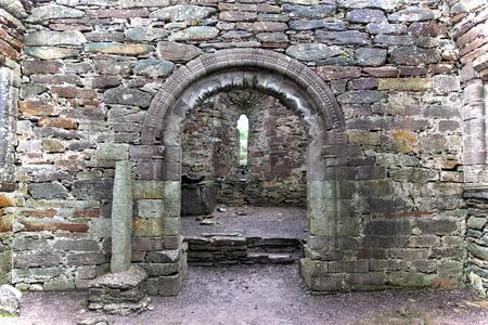Ogham Stone in abandoned church, Ireland