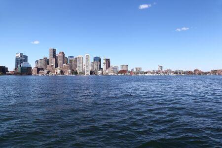 Boston Skyline from the Harbor Stock Photo