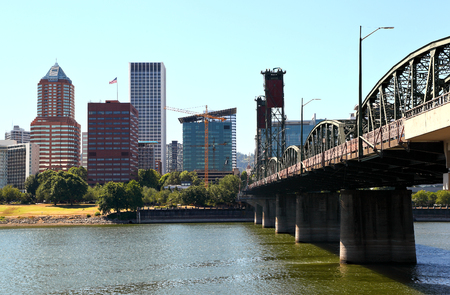 Downtown Portland with Hawthorne Bridge
