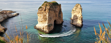 Pigeon Rocks, Beirut - Lebanon Stock Photo