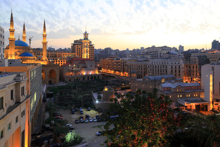 Downtown Beirut at twilight, Lebanon Stock Photo