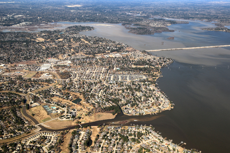 Atascocita, Texas- Aerial View with lake Houston