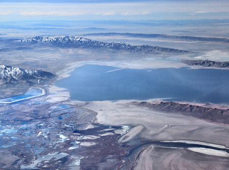 Aerial view of the Great Salt Lake in Utah