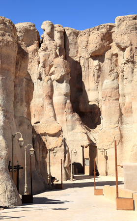 Al Qara caves in Saudi Arabia Stock Photo