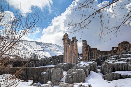 Faqra Roman Ruins in the Snow, Lebanon Stock Photo