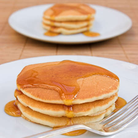 dollop: Scotch pancakes with maple syrup - shallow dof