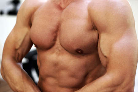 defined: Close up of well defined male torso Stock Photo