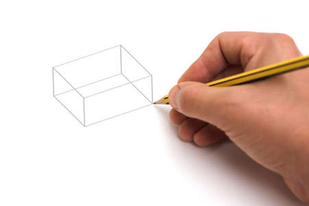 Hand with pencil drawing a basic cube, isolated on white - cube shape can be easily replaced