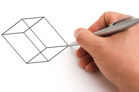 Hand with pen drawing a basic cube, isolated on white - cube shape can be easily replaced