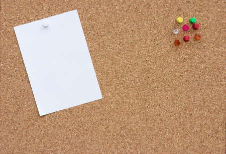 Corkboard with blank note & push pins
