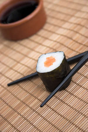 makki: Close up of sushi thats about to be eaten! Stock Photo