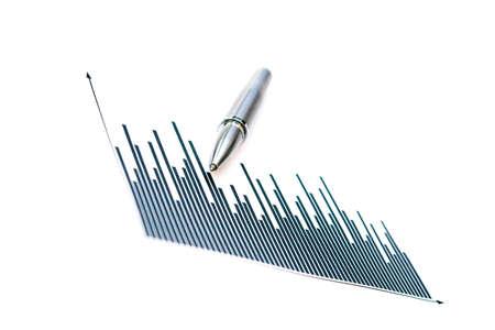 Silver pen & generic graph - shallow depth of field & slight grain Stock Photo - 707030