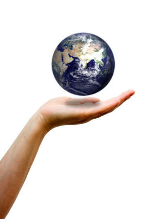 Looking after the planet, its in our hands! Stock Photo