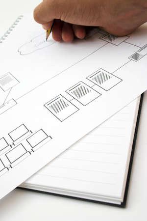 Schaltplan für ein Netzwerk-Design - seichte Tiefe des Feldes Standard-Bild - 706878