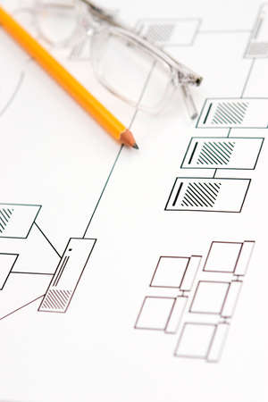Draft for a new computer network - shallow depth of field Standard-Bild