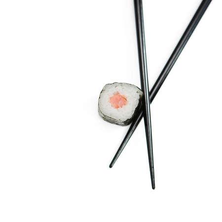 tekka: Sushi roll & chopsticks isolated on white - shallow dof