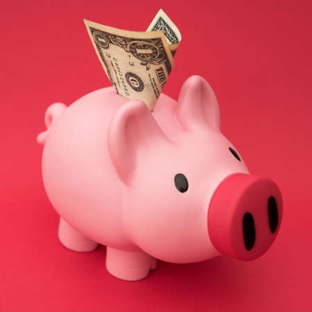 Piggy bank on red with a dollar deposit - shallow dof Stock Photo