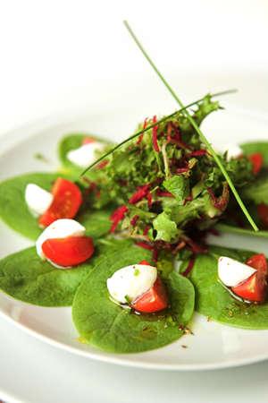 Tomato, mozzarella & spinach salad - shallow dof