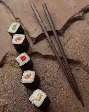 Sushi selection & chopsticks - shallow dof Stock Photo - 3529717