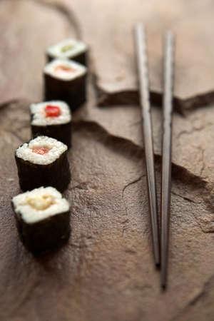 Sushi selection & chopsticks - shallow dof Standard-Bild